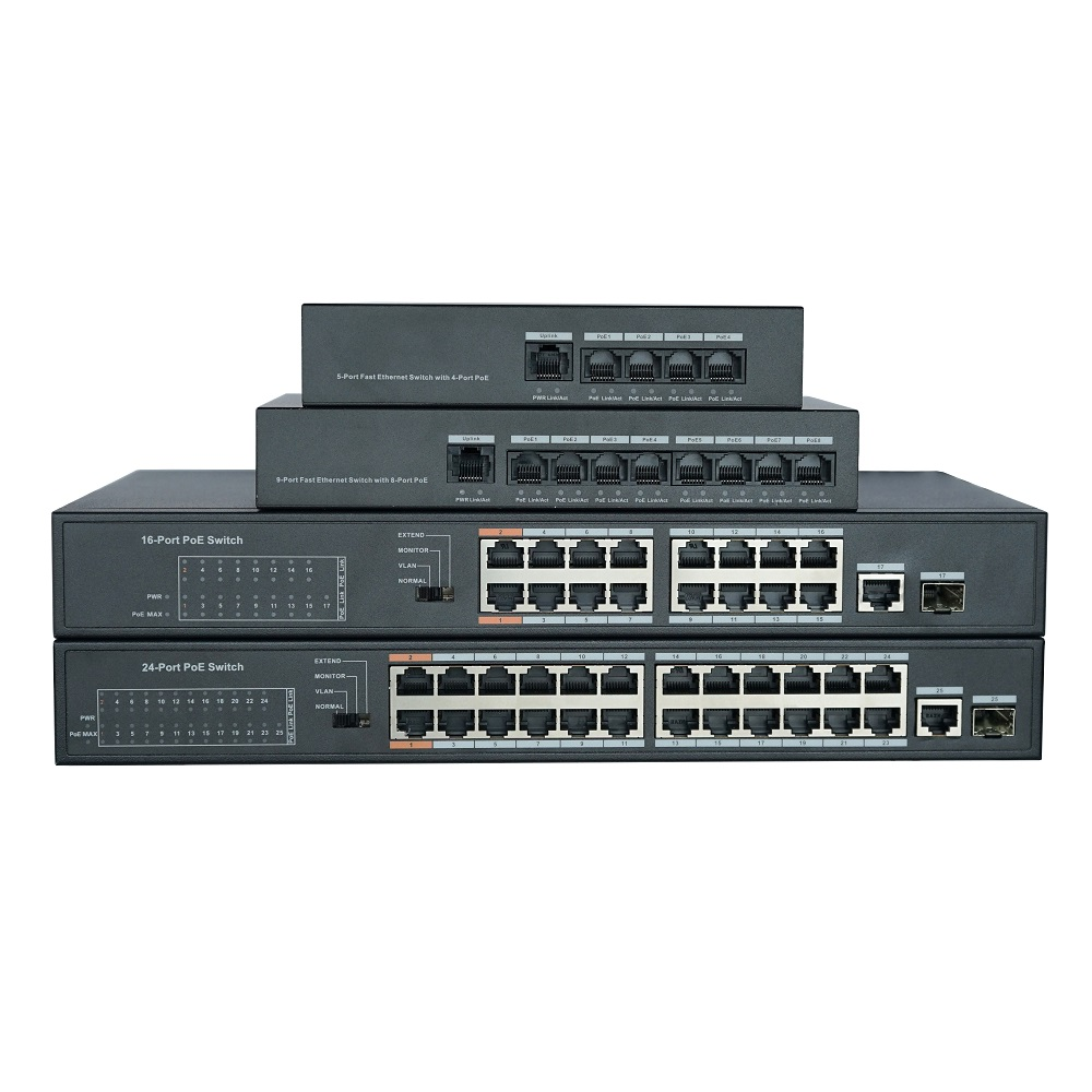 DH With Logo 4CH  8CH 16CH 24CH Unmanaged PoE LAN Switch, IEEE802.3af IEEE802.3at POE Network Switch, 16/24 Port Support Hi-PoE