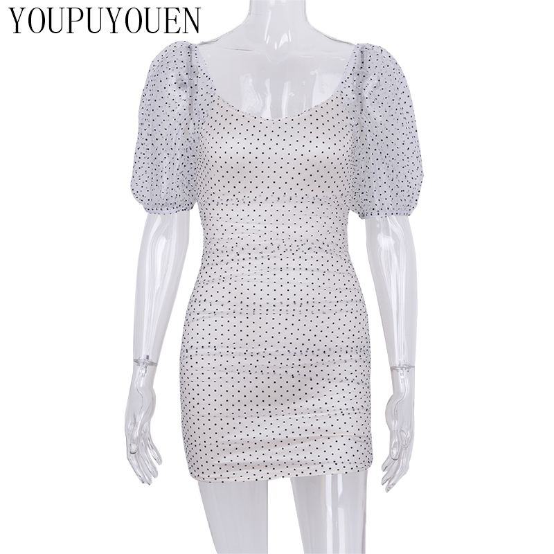 White New Who What Wear Women/'s Polka Dot Short Sleeve Mini Wrap Dress Black