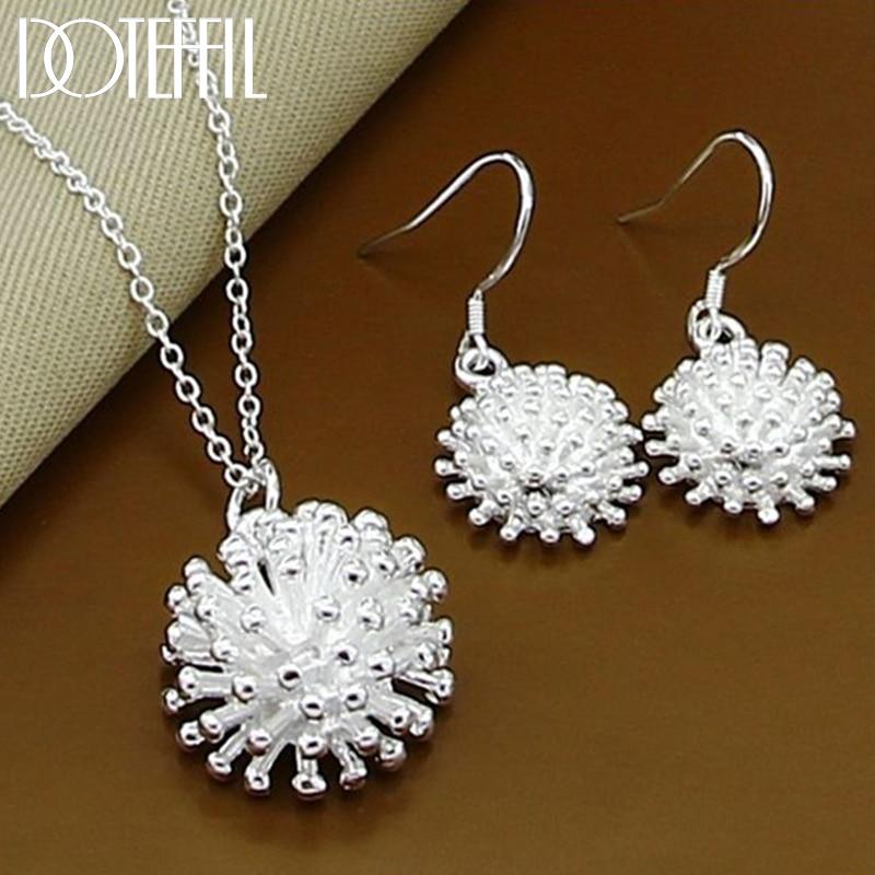 DOTEFFIL 925 Sterling Silber Feuerwerk Blume Halskette Ohrring Set Beliebte Charme Schöne Halskette Ohrring Sets frauen Schmuck