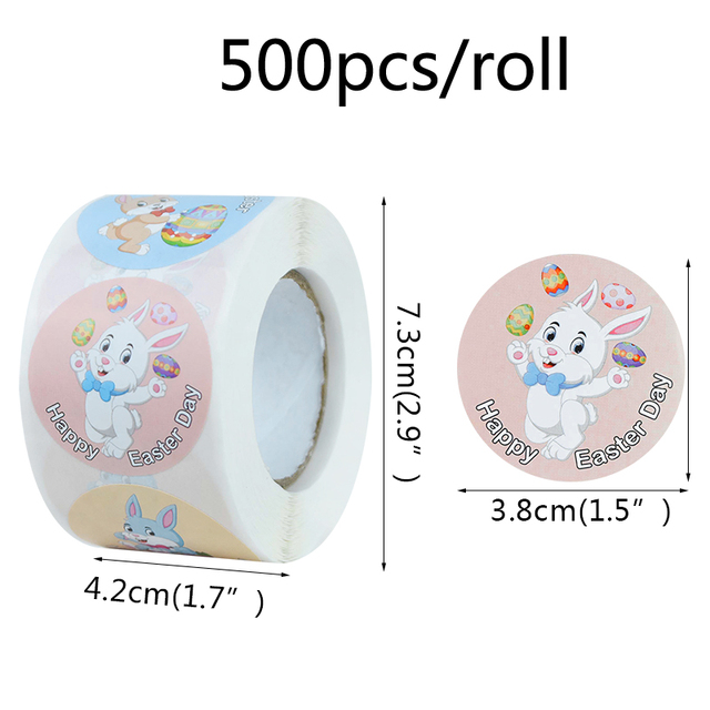 Happy Easter Stickers 500 pcs 1 Roll 3.8cm//1.5inch Bunny Animal Stickers Round Roll Sticker Easter Theme Stickers Labels for Kids Gift Packing