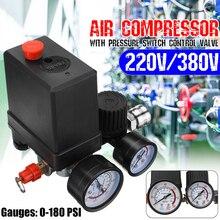Прочный 240 В/380 В регулятор рабочего воздушного компрессора насос переключатель контроля давления воздушный насос регулирующий клапан 7,25-125 фунтов/кв. дюйм с манометром