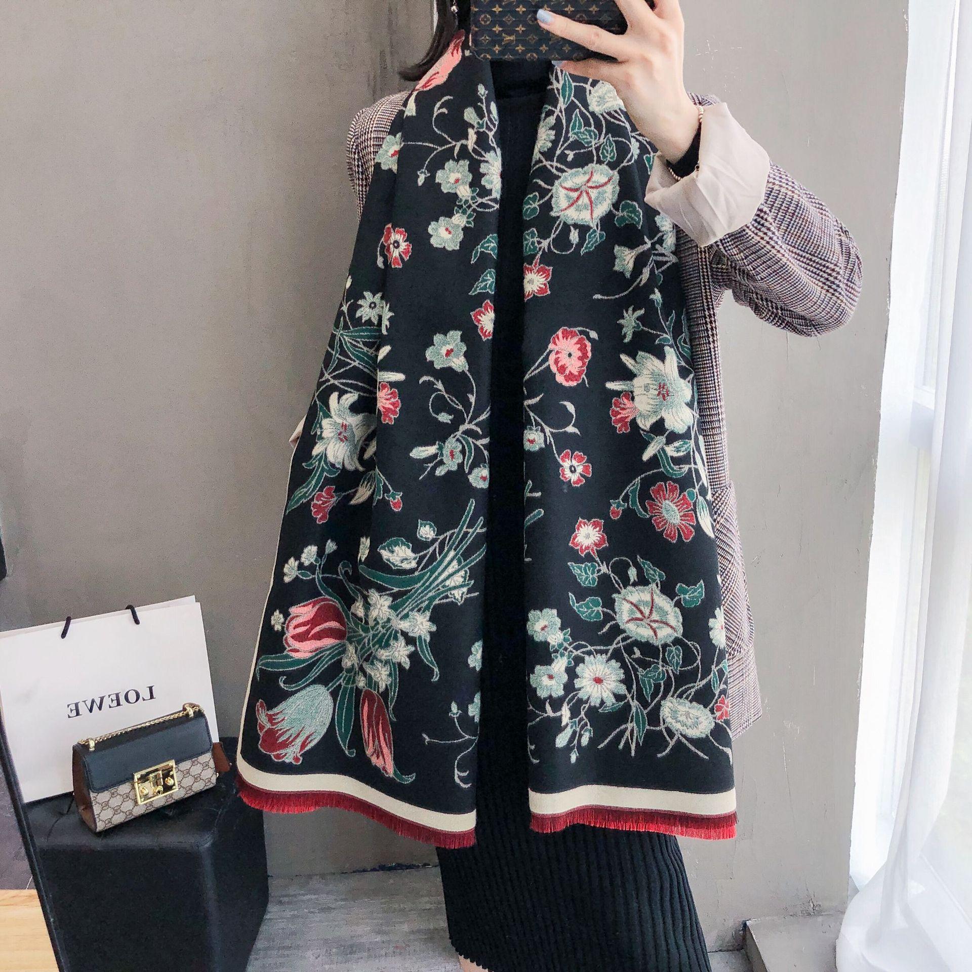 Thick Women Winter Scarf Warm Cashmere Shawls Elegant Floral Print Lady Pashmina Wraps Foulard Bandana Scarves 2020 Design
