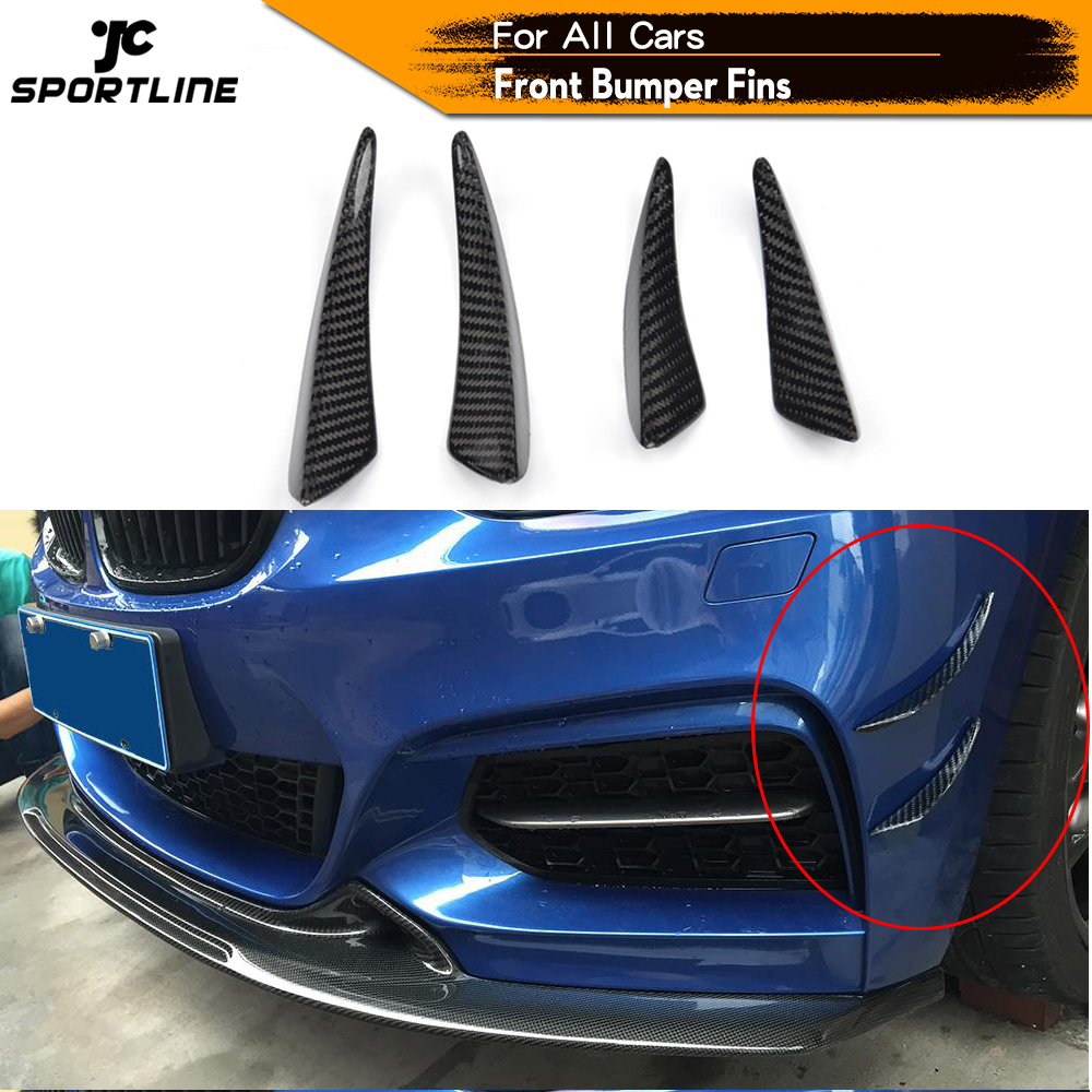 Carbon Fiber Front Bumper Trims Spoiler Fins Canards for BMW E90 E92 Audi A5 A3 C63 C43 A45 AMG Universal Car Accessories image