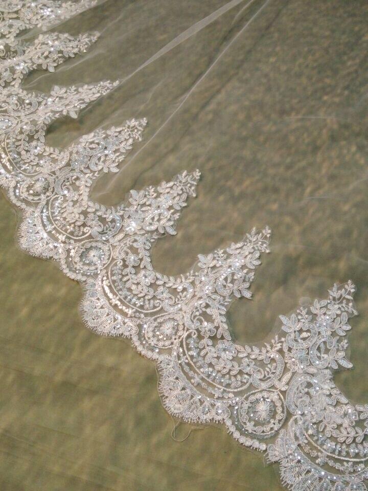 Image 2 - White/Ivory Wedding Veil 2M/ 2.5M / 3m / 4M Long Comb Lace Mantilla Cathedral Bridal Veils Wedding Accessories Veu De NoivaBridal Veils   -