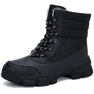 Image 2 - 新しい女性冬の雪のブーツ防水毛皮の女性のアンクルブーツ高品質レースアップウォームぬいぐるみ女性のブーツサイズ 36 42