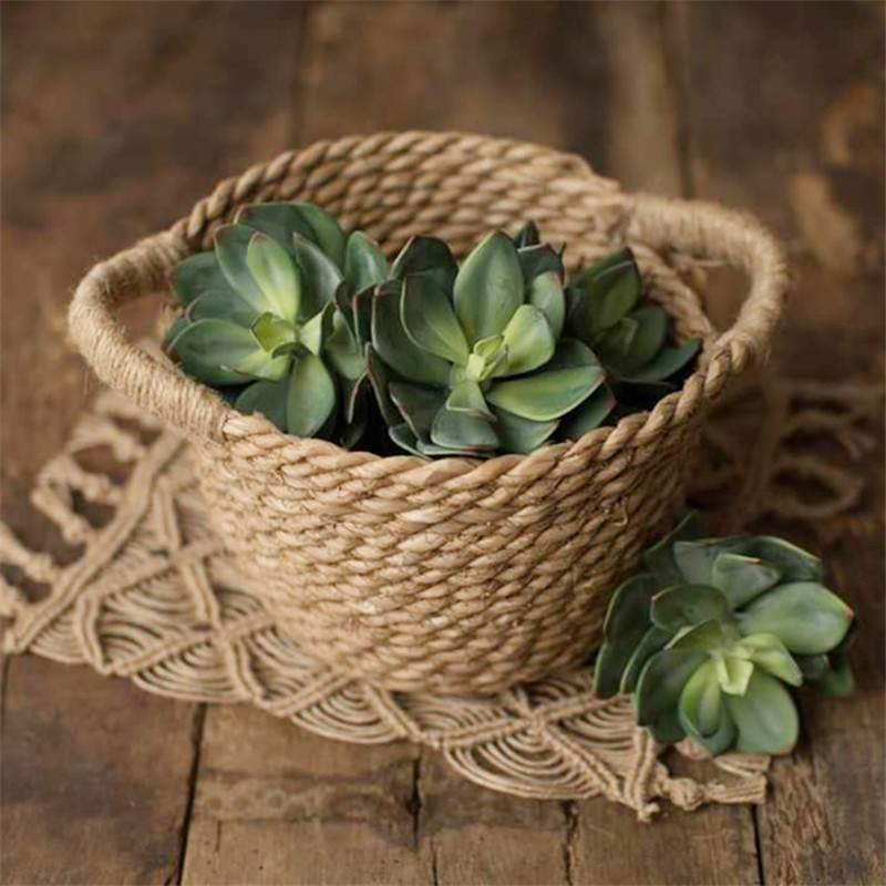 Baby Props Photography Hand-Woven Straw Basket Natural Bamboo Baby Props Baskets Baby Shooting Accessories Posing Container Bed