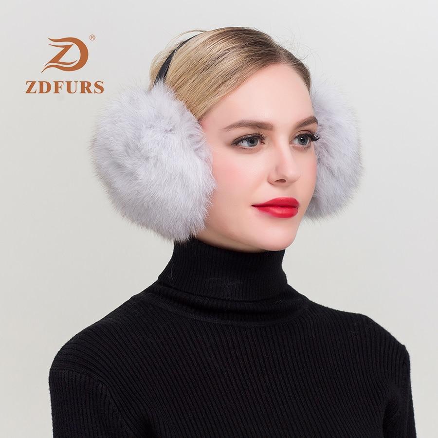 Women Warm Real Fox Earmuffs Ultralarge Imitation Plush Earlap