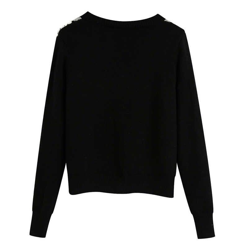 Harada 빈티지 영국 V 목 스웨터 여성 패션 싱글 브레스트 스웨터 여성 우아한 아가일 스웨터 여성 숙녀 EAD