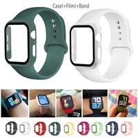 Cristal + correa para Apple Watch, 44mm, 40mm, 38mm, 42mm, Protector de pantalla + funda + Accesorios de correa, pulsera iWatch series 6 5 4 3 se 40
