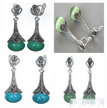 825 +++4 styles 925 SILVER NATURAL 10MM GREEN JADE/OPAL/TURQUOISE BLUE TURQUOISE BEADS MARCASITE EARRINGS(China)