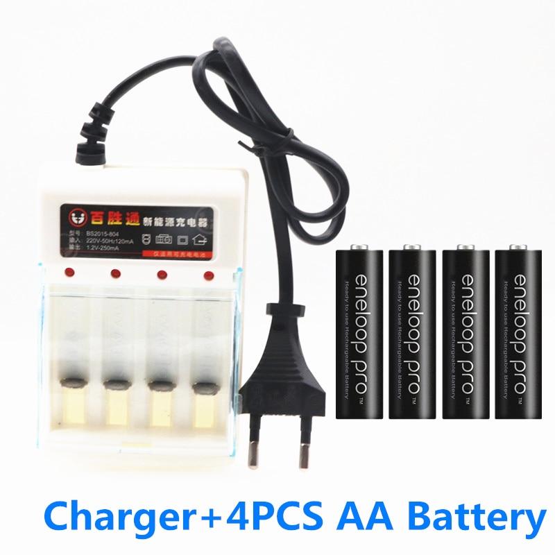 Panasonic original eneloop AA batería 2500 MAH batería 1,2 V Ni-MH linterna juguete de la Cámara AA batería precargada + cargador 1,2 V AA