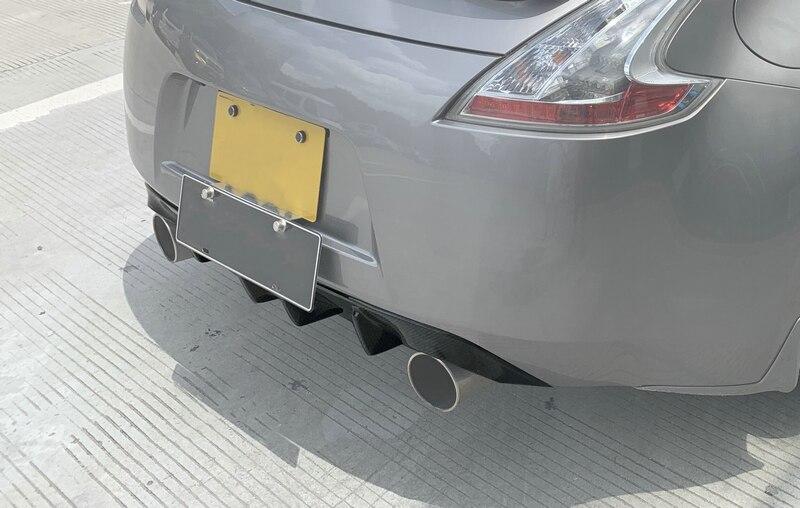 Para nissan 2009 em z34 370z tuning fibra de carbono amortecedor traseiro difusor corrida pára-choques lábio corpo kit guarnição corrida spoiler capa-1