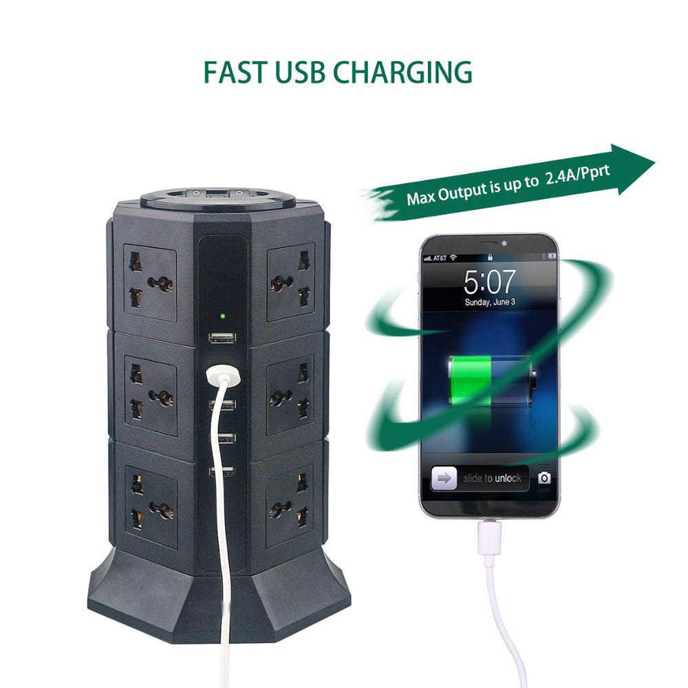 USB Мощность полосы вертикальный 8/12 EU/US/UK/AU вилка электроприбора клеммной колодкой универсальная розетки Зарядное устройство Стабилизатор напряжения 6.6ft/2 м кабель-удлинитель