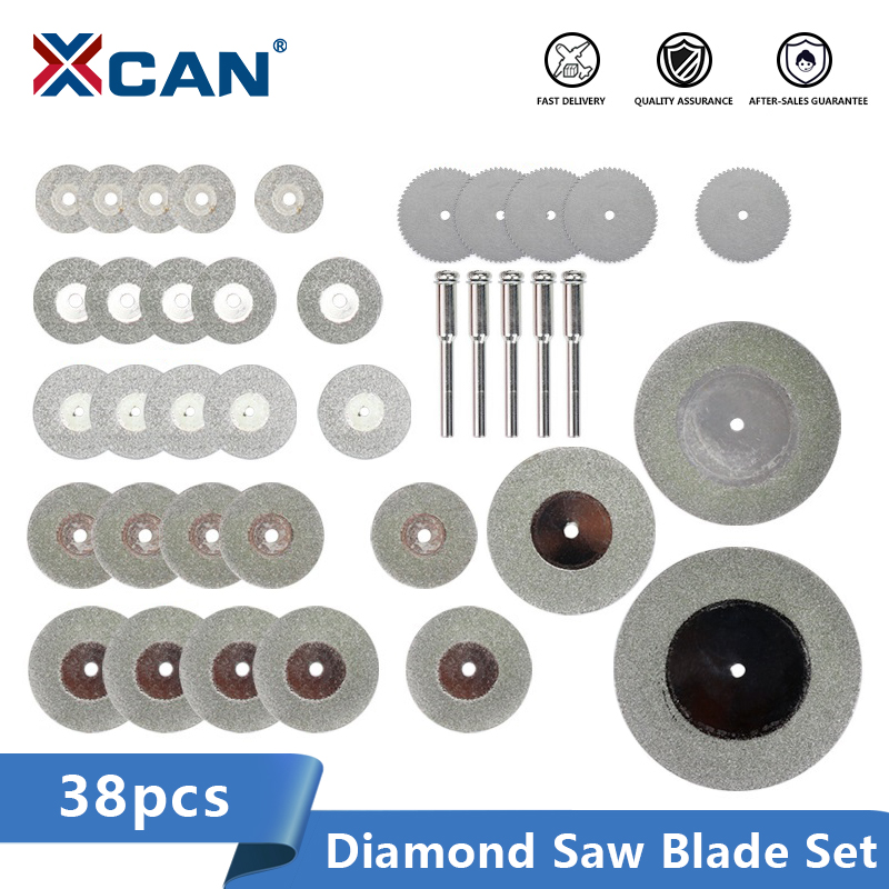 XCAN Mini Circular Saw Blade 38pcs 16-60mm Diamond Cutting Saw Disc For Dremel Rotary Tools