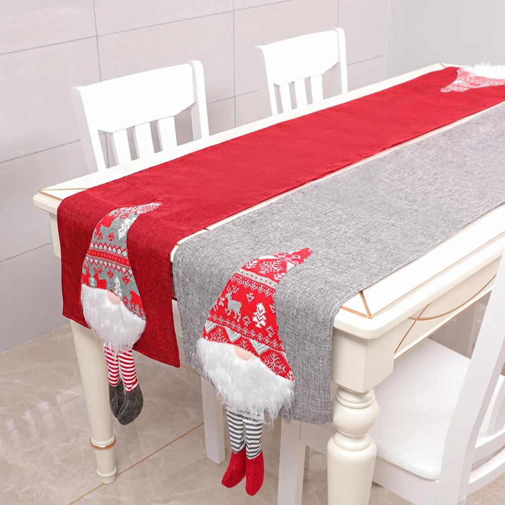 Boneco de neve longo corredor de mesa pano feliz natal festa jantar não-deslizamento corredor de mesa de linho de algodão casa decorações