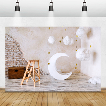 Laeacco Moon Stars Clouds Wood Box Chair Photography Backgrounds Birthday Backdrops Baby Shower Photocall Newborn Photozone Prop