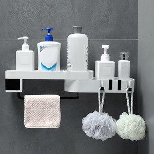 Image 4 - Ventouse en plastique, support de rangement pour salle de bain et cuisine, organisateur étagère de douche, étagère de douche