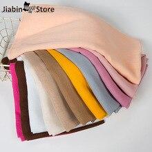 Women Plain Cotton Polyester Hijab Shawl Scarf Muslim Lady Hijabs Head