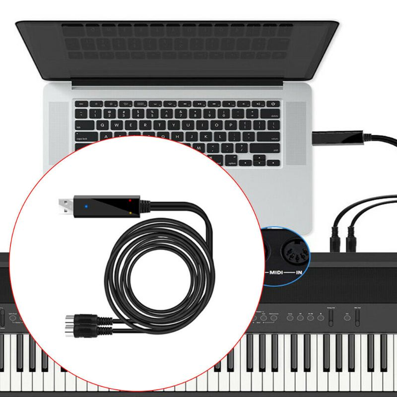 2m Keyboard Recording Editing Cable Electric Piano Converter Cable USB to Midi