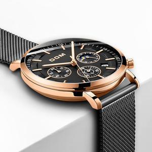 Image 2 - DOM montre daffaires de luxe pour hommes, chronographe, montre bracelet étanche à Quartz, entièrement en acier, M 1296GK