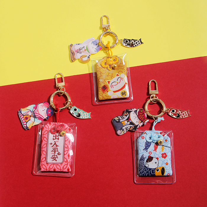 Cute Cartoon Japanese Lucky Cat Keychain For Women Bag Schoolbag Charms Pendant Creative Car Key Holder Keyrings
