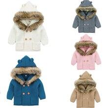 Одежда для новорожденных мальчиков и девочек, зимние теплые свитера, пальто, вязаный свитер с капюшоном и длинными рукавами, верхняя одежда для детей
