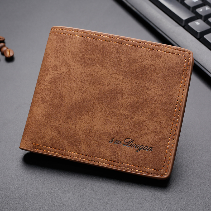 Men Retro Frosted Wallet Male Purse Credit Card Holder Solid Color Short Wallet PU Leather Purse And Wallet Card Holder Carteira