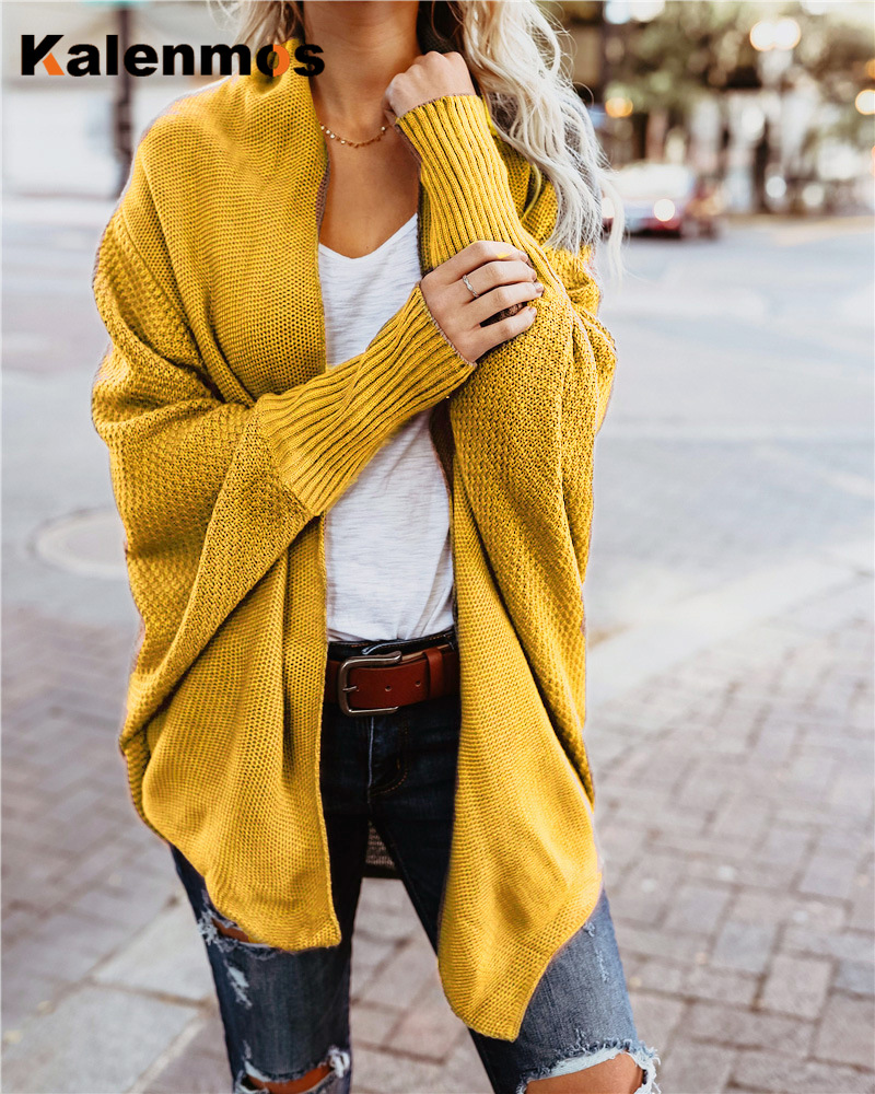 Autumn Winter Sweater Women Fashion Long Sleeve Knit Batwing Sleeve Cardigan Ladies V Neck Solid Casual Long Coat Femme Clothing