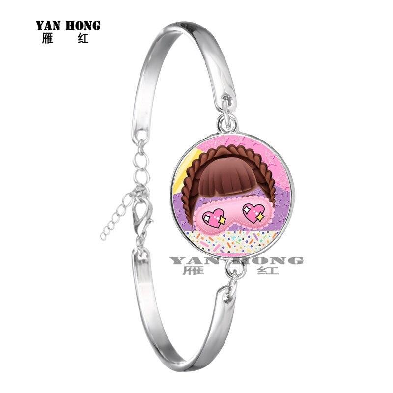 Красивый кукольный стеклянный браслет 20 мм стеклянный купол мультфильм ювелирные изделия круглый стеклянный браслет детский очаровательный подарок - Окраска металла: 27