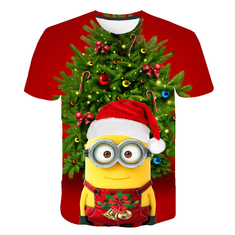 Hot-selling cartoon Christmas little emperor quick-drying funny O-neck short-sleeved fashion children 3D printing T-shirt