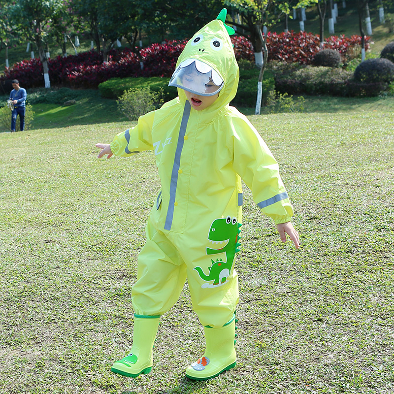 1-10 Years Old Children Raincoat Kids Boys Girls Waterproof Jumpsuit Hooded One-Piece Cartoon Dinosaur Baby Rainwear And Pants