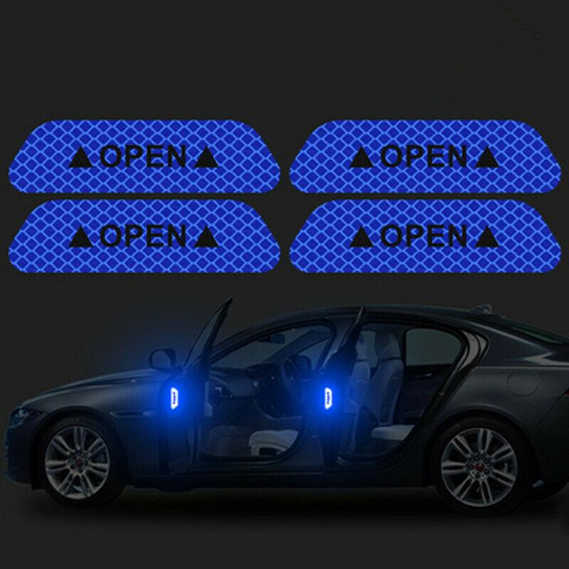 4pcs Set Safety Warning Car Door Anti-collision Opening Door Reflective Sticker