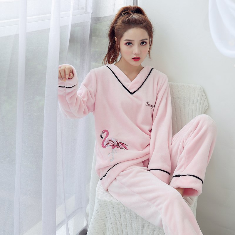 High Quality Warm Women Flannel Pajamas Set Cute Christmas Pajamas Adult Fleece V-neck Women Sleepwear Home Long Top And Pant