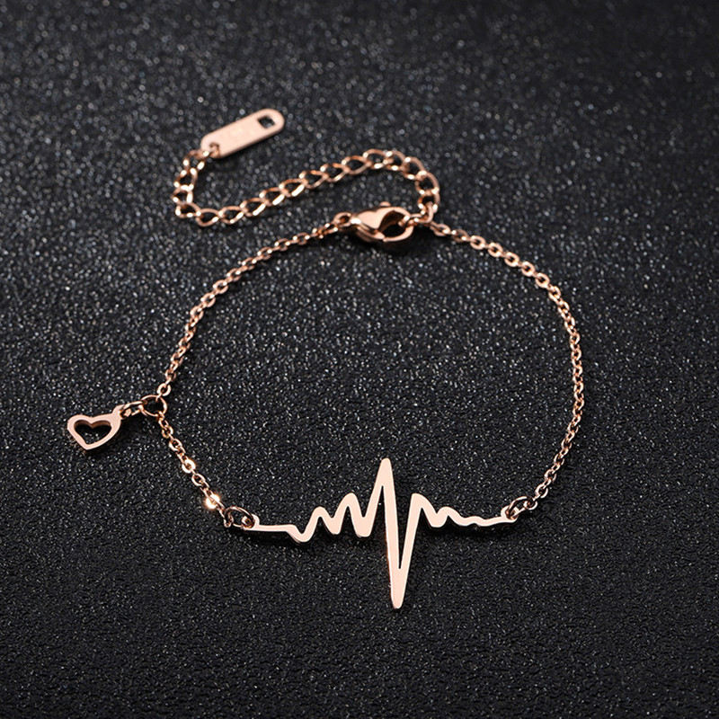 JIOROMY New Summer Leg Bracelets For Women Foot Jewelry Hollow Heart Feet Chain Gifts Titanium Steel Wavy ECG Anklet
