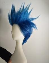 Peruca para cosplay galo thymos, peruca curta lisa de cabelo sintético, resistente ao calor, com gorro