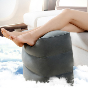 Novo 3 camadas de viagem inflável descanso do pé travesseiro avião trem carro apoio para os pés almofada com saco de armazenamento & capa poeira cinza/marinha