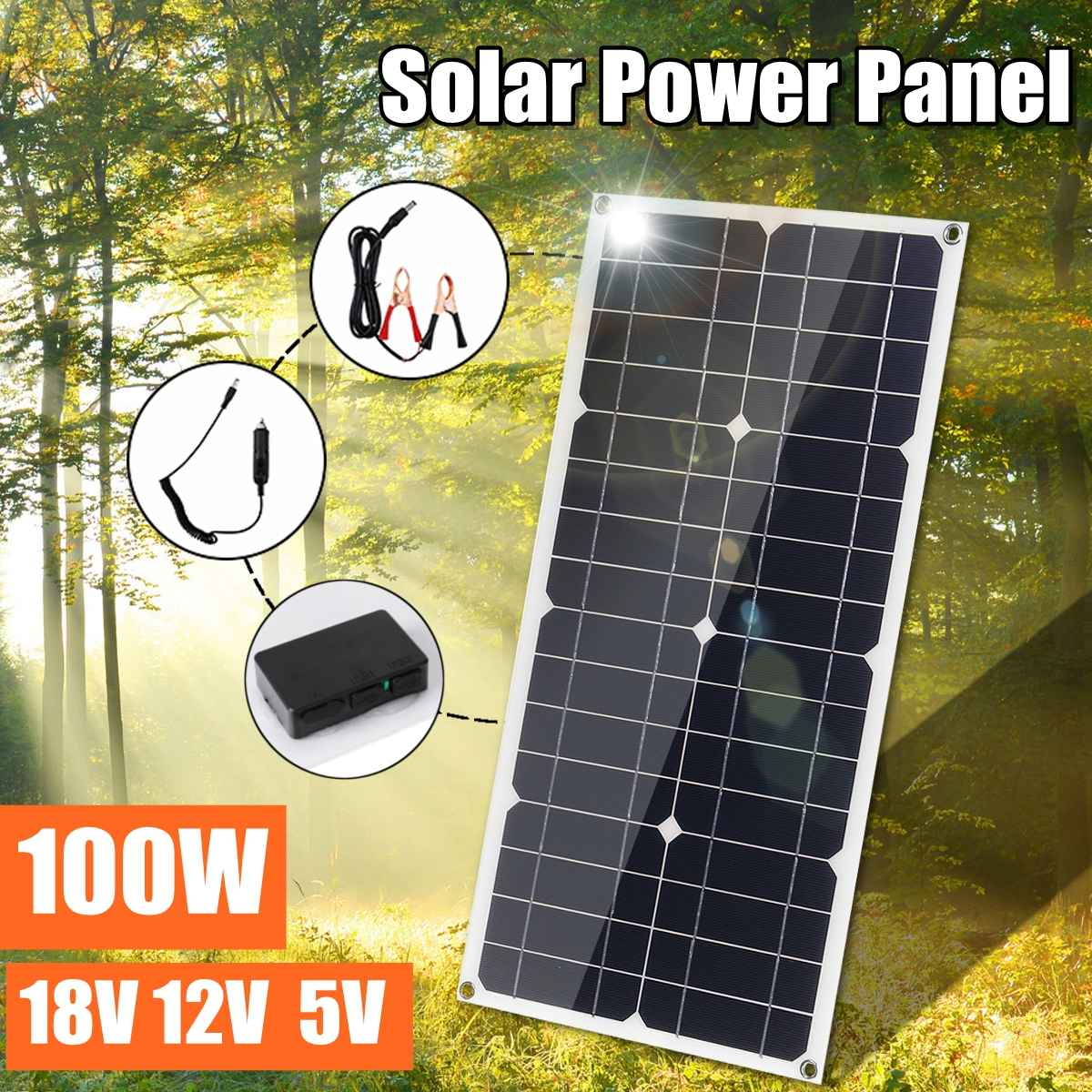 100W 12V Dual USB Flexible Solar Panel Battery Charger Kit Car Boat Controller