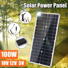 100W 18V Solar Panel Dual USB 12V/5V DC with 10/20/30A Solar Controller Flexible Solar Charger For Car RV Boat Battery Charger 40w solar cells solar panel with car charger 5v dual usb charger 10 20 30 40a 18v solar charger controller for outdoor camping