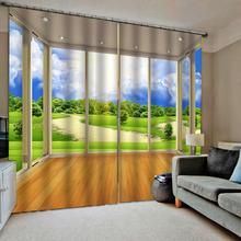 3D Curtain Luxury Blackout Window Living Room window curtains green landscape scenery