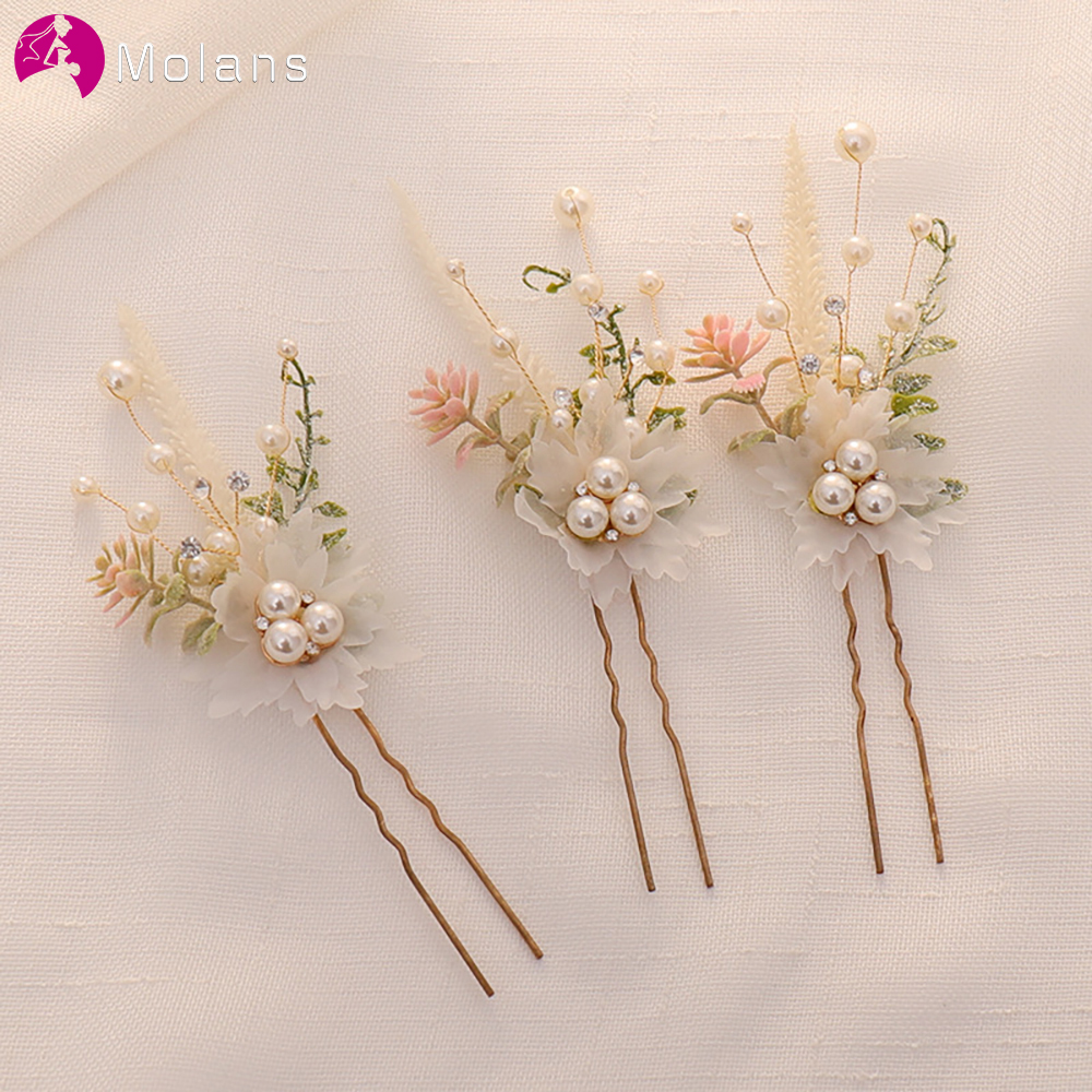 MOLANS Bride Hair Accessories Pearl Rhinestone Hairpin Artificial Flower Hair Clip For Wedding Handmade Hair Jewelry For Women
