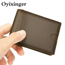 OYIXINGER portfele dla mężczyzn prawdziwy skórzany wąski portfel mężczyźni krótki człowiek skórzane portfele kiesy Mini portfele męskie dla kart 2020 nowy tanie tanio Prawdziwej skóry Skóra bydlęca CN (pochodzenie) 0 05kg Poliester 7 8cm Genuine Leather Stałe vintage W393 Wallets Posiadacz karty