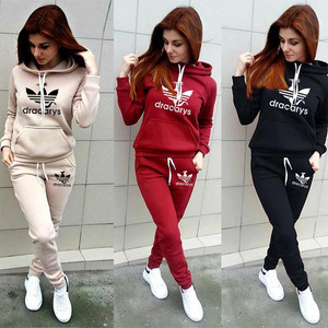 Autumn Winter 2 Piece Set Women Hoodie Pants Printed Tracksuit Pullover Sweatshirt Trousers With Pockets Tracksuit Suits(China)
