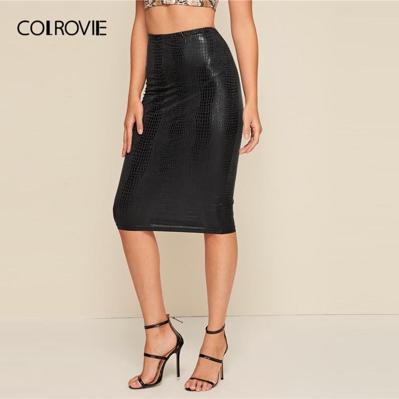 COLROVIE Black Crocodile Pattern Pencil Skirt Women High Waist Bodycon Skirt 2019 Fall Ladies Elegant Solid Midi Skirts