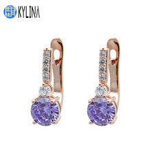 KYLINA Europe America 585 Rose Gold Round Cubic Zirconia Dangle Earrings Women Girl Personality Trendy Wedding Jewelry Eardrop(China)