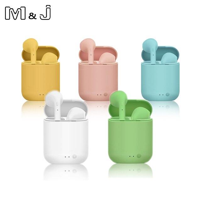 M & J TWS kolorowe bezprzewodowe małe wkładki douszne z Bluetooth słuchawki bezprzewodowe stereo przenośne matowe Macaron sport Bluetooth 5.0 słuchawki