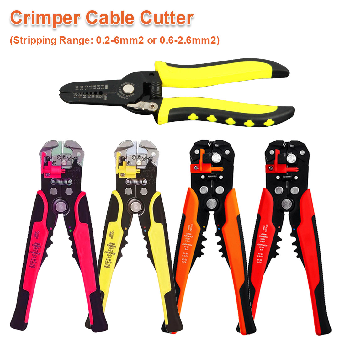 Automatic Wire Stripper Cable Cutter Multifunctional Wire Stripping Tool Crimping Pliers Cable Crimper 24-10AWG/ 0.2-6mm2 Tool