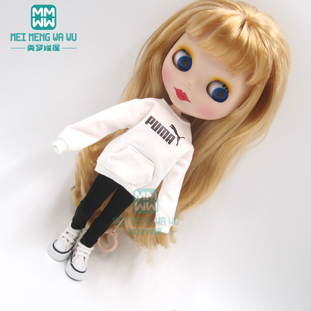 1pcs Blyth Doll Clothes Fashion Letter Jersey, Tights, Sneakers For Blyth Azone Ob24 1/6 Dolls Accessories