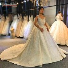 Oszałamiająca całe z koralików suknia ślubna luksusowe 2020 marka prawdziwa praca z amanda novias