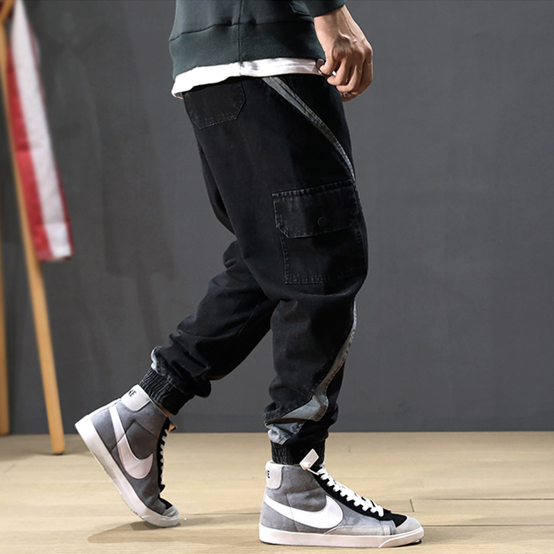 Japanese Style Fashion Men Jeans Loose Fit Spliced Designer Cargo Pants Hombre Joggers Harem Jeans Streetwear Hip Hop Jeans Men