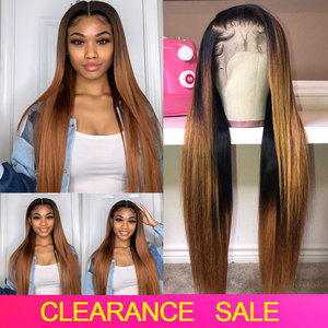 4x4 Closure Wig Ombre Human Hair Wig Honey Blonde Lace Front Human Hair Wigs Straight Lace Front Wig Brazilian Lace Frontal Wig(China)